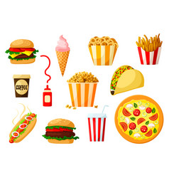 Fast food dishes with drink and dessert icon set vector