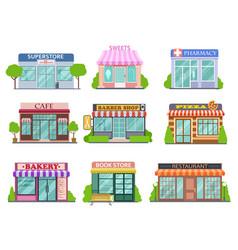 Flat shops set barber shop bookstore and vector