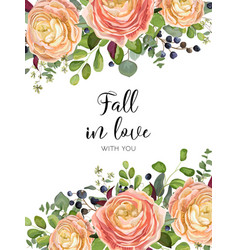 floral design card garden pink peach rose vector image