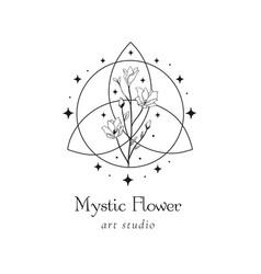 floral mystic logo design handdrawn blossom herbs vector image