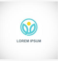 flower beauty round logo vector image