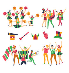 football fans and cheerleaders men and women team vector image