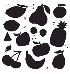 Fruits and vegetables silhouettes vector