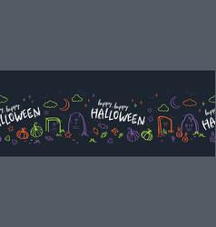 fun hand drawn halloween horizontal seamless vector image