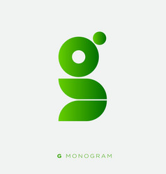 g monogram abstract logo green letter vector image