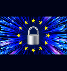 gdpr background padlock stars security vector image