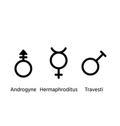 Gender symbols orientation signs set outline vector