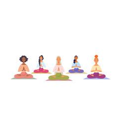 Girls yoga namaste vector