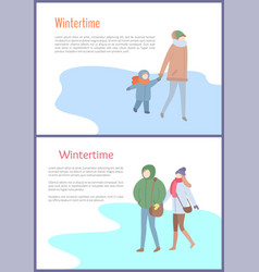 going couple and mum with kid in wintertime vector image