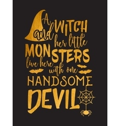 Gold Halloween lettering inscription vector image