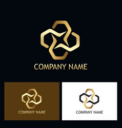 Gold luxury connection logo vector