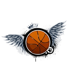 Grunge image with basketball vector image