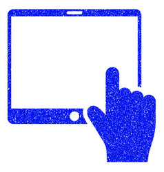 Hand points mobile tablet grunge icon vector