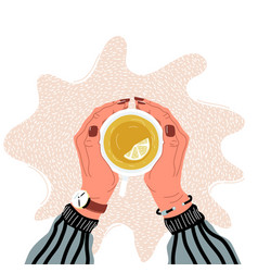 hands holding teacup flat vector image