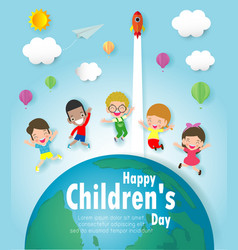 happy children day background group of kids jump vector image