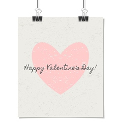 happy valentines day vintage design poster vector image