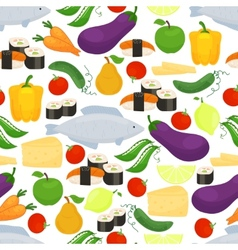 Healthy food seamless background pattern vector