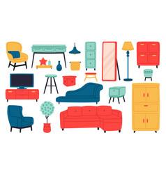home furniture living room interior sofa vector image