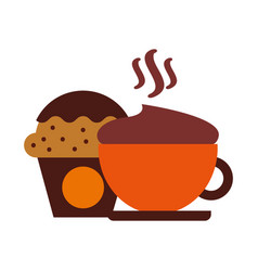 hot fresh coffee cup with cupcake vector image