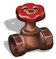 Industrial copper or brass water valve isolated on vector