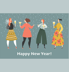 invitation card for new year party with cute girls vector image