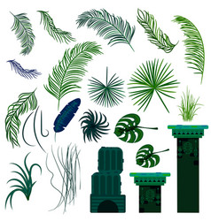 Jungle leaves and old ruin columns isolated vector