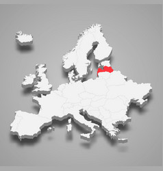 latvia country location within europe 3d map vector image