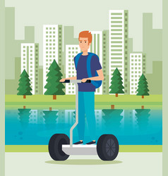 Man riding electric scooter with backpack vector