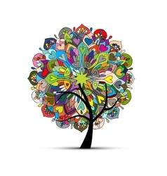 Mandala tree floral sketch for your design vector