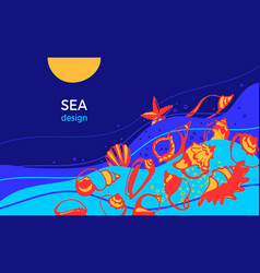 marine design tropical seashell art template vector image