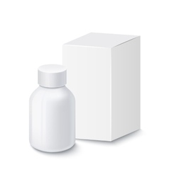 Medical plastic bottle for pills with carton box vector