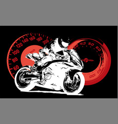 motorbike rider abstract silhouette road vector image