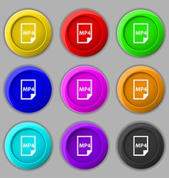 MP4 Icon sign symbol on nine round colourful vector