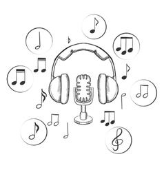 Music sound and entertainment sketches vector image vector image