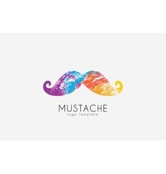 Mustache logo Color mustache Mustache in grunge vector image