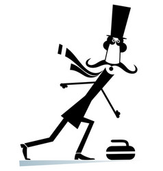Mustache man in the top hat plays curling isolated vector