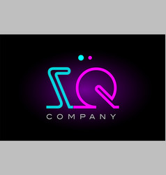 neon lights alphabet zq z q letter logo icon vector image