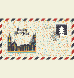 new year envelope with old european city vector image