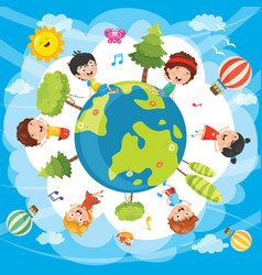 Of world kids vector