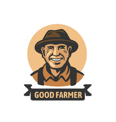 old smiling farmer with text vector image
