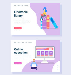 online education electronic library study vector image