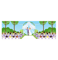 outdoor marriage celebration in park happy vector image
