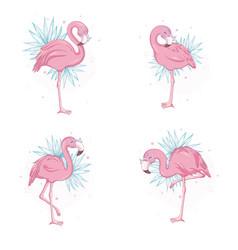 pink flamingo cartoon flat set exotic tropical vector image