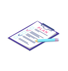 plan on page of clipboard pen and documentation vector image