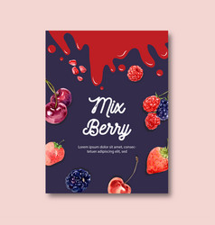 Poster design with fruits-theme creative berries vector
