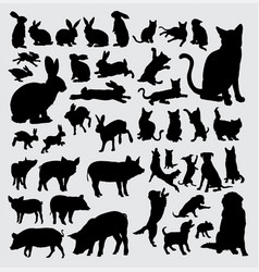 Rabbit dog pig and cat action silhouettes vector