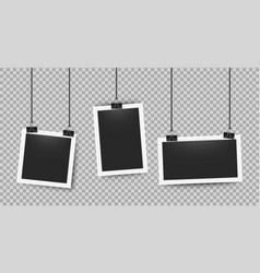 realistic photo frames clipped on ropes retro 3d vector image