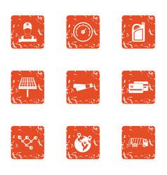region icons set grunge style vector image