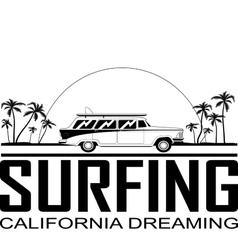 Retro Surfboard Car vector image