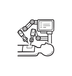 robotic surgery hand drawn outline doodle icon vector image